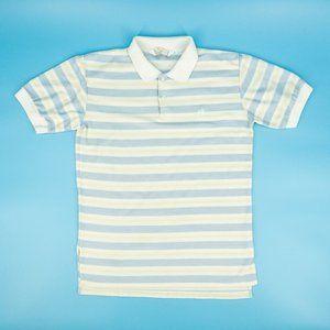 Hang Ten Polo Shirt Striped Short Sleeve Blue Sz L